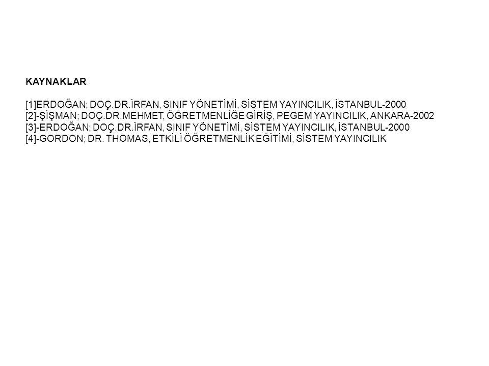 KAYNAKLAR [1]ERDOĞAN; DOÇ.DR.İRFAN, SINIF YÖNETİMİ, SİSTEM YAYINCILIK, İSTANBUL-2000.